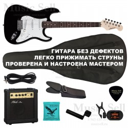 Ashtone Strat S-S-S SET Black + Чехол!